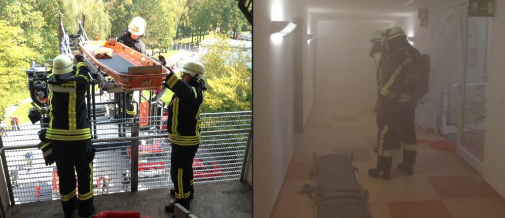Übung unter Realbedingungen am Krankenhaus Rotthalmünster: Die Feuerwehr Bad Füssing bei einer Rettung aus dem vierten Stock (links), währenddessen sind im Gebäude die Atemschutzträger der Feuerwehr Rotthalmünster im Einsatz (rechts).