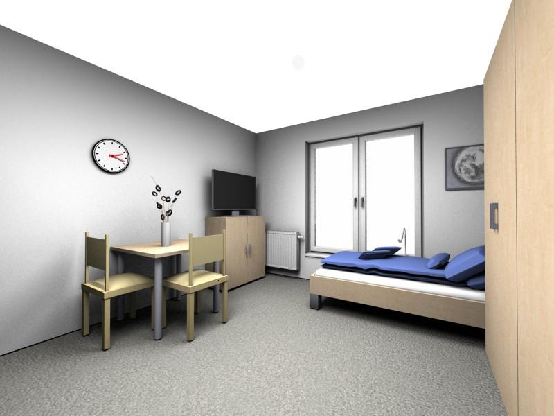Beispiele für unterschiedlich geschnittene voll möblierte 1-Zimmer-Appartements in der neuen Personalwohnanlage in Rotthalmünster.