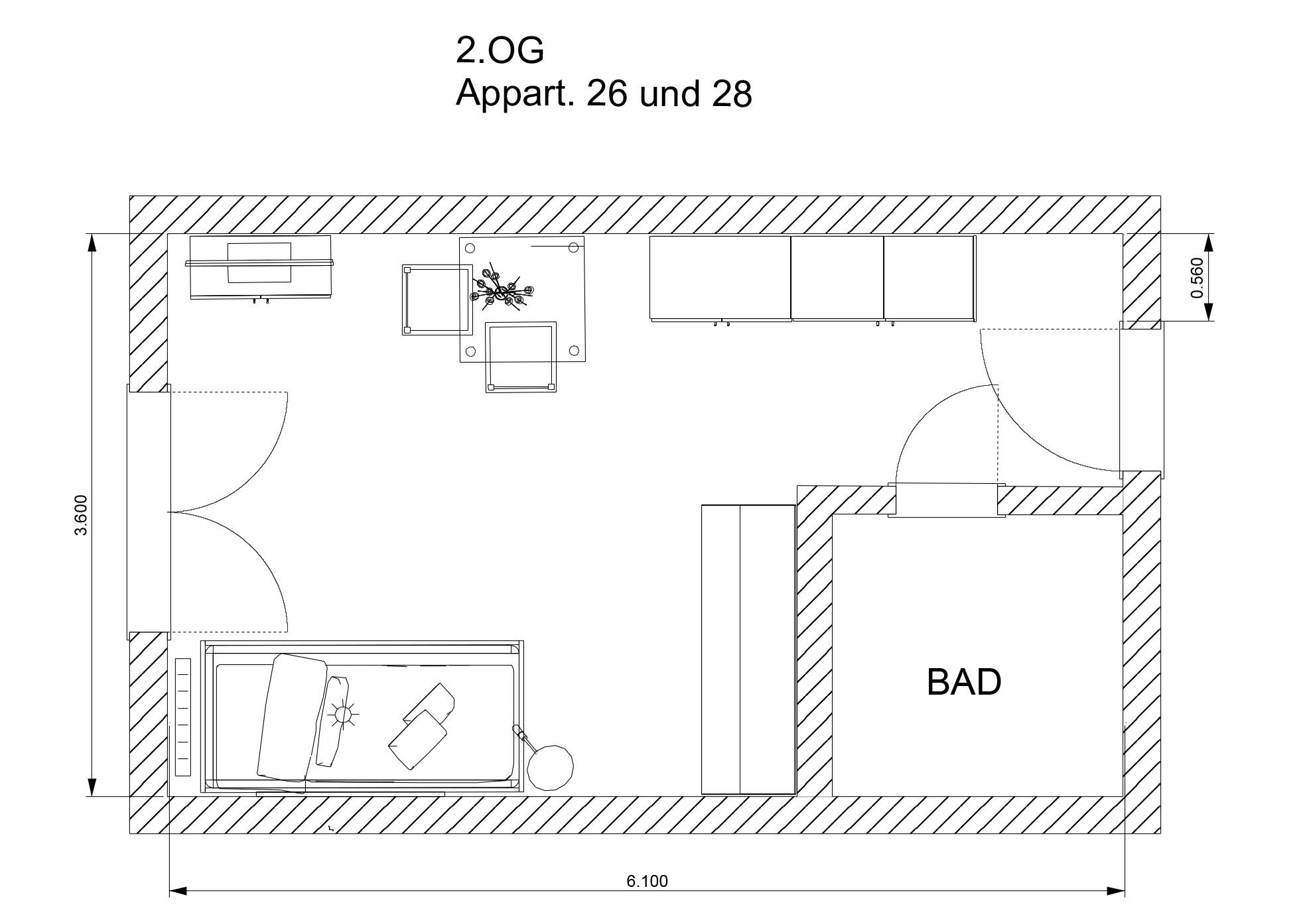 Beispiel-Grundriss: Voll möbliertes 1-Zimmer-Appartement mit 21,96 m²