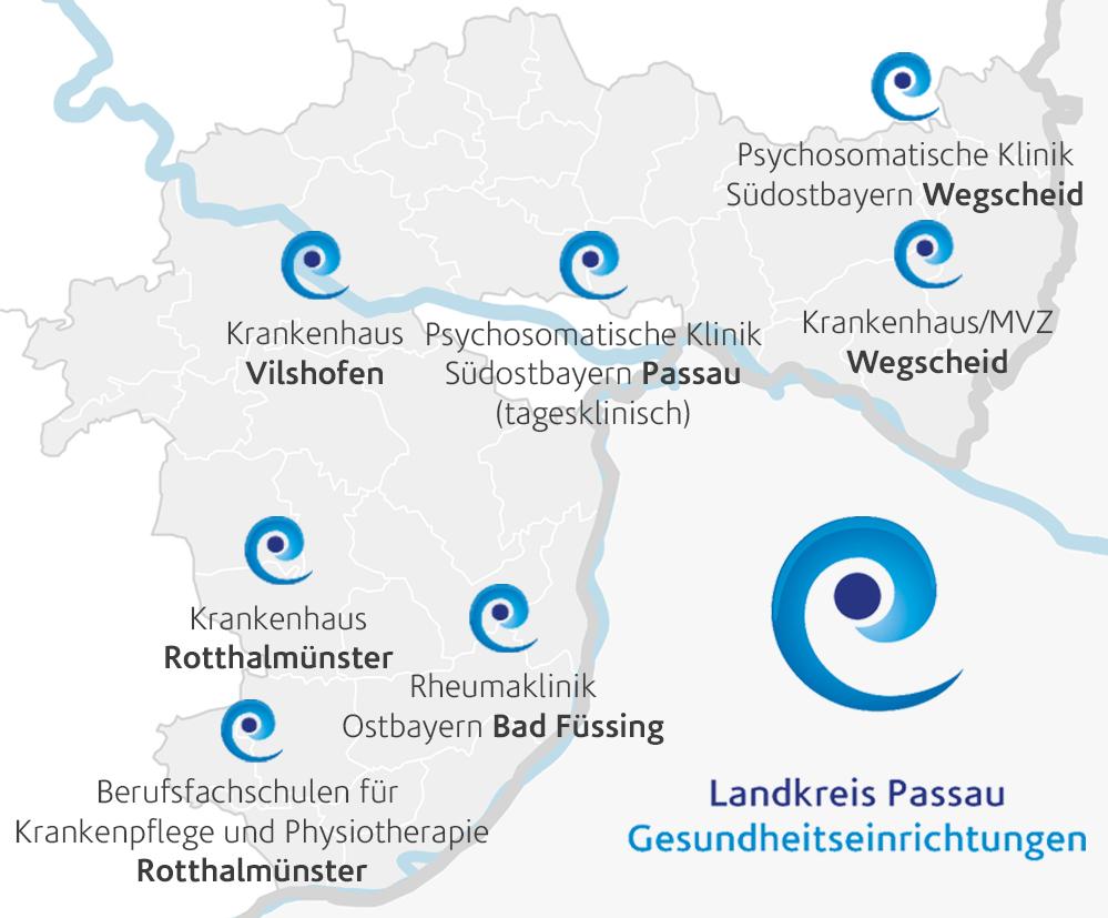Übersicht unserer Kliniken im Landkreis Passau (im Südosten von Bayern)