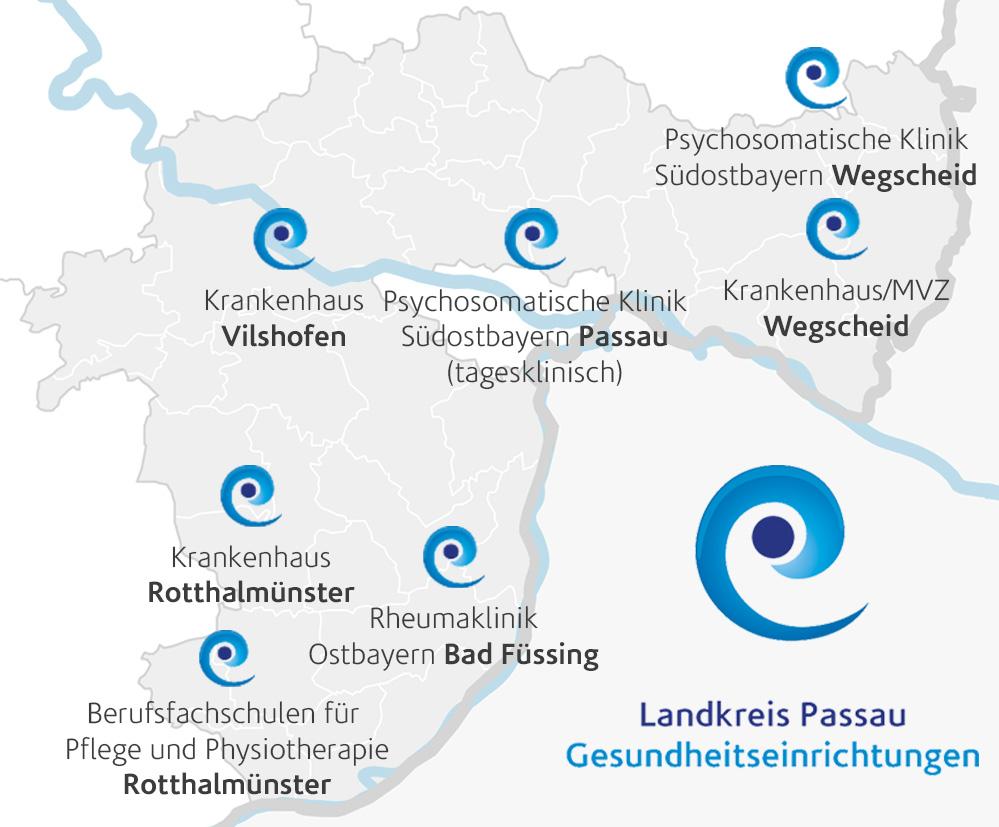 Übersicht unserer Kliniken im Landkreis Passauim Südosten von Bayern